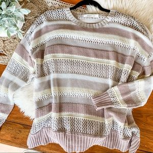 Mauve & cream crocheted / knit sweater